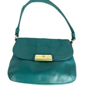 Coach Kristen teal top handle pouch